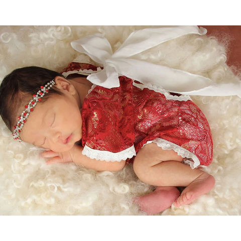 Opal NewBorn Baby Girl Romper In Red - Little Adora and Company
