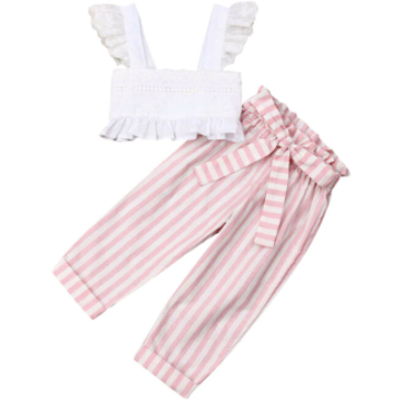 All Stripes Girls Pants Set - Little Adora and Company
