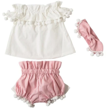 Sophia Pom Pom Baby Girl Outfit - Little Adora and Company