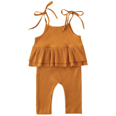 PREORDER Elodie Baby Girl Jumpsuit In Orange - Little Adora and Company