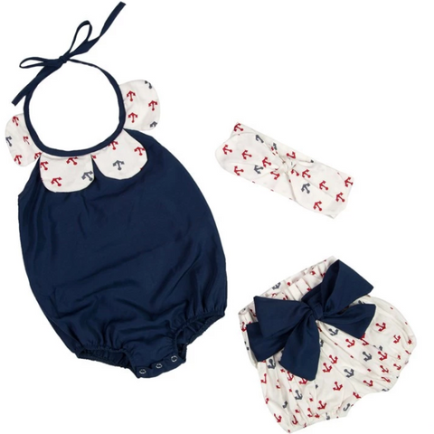 Anchors Away Baby Girl Outfit - Little Adora and Company