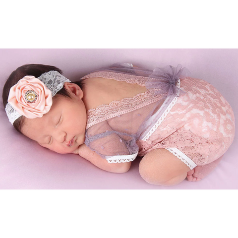 Faith Newborn Baby Girl Romper In Pink & Purple - Little Adora and Company