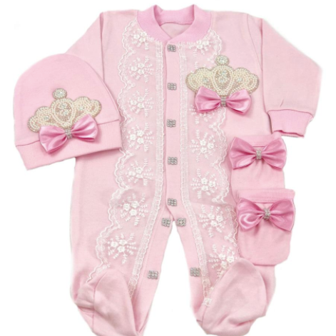 PRE Order Pink Princess 3 Pc Onesie  Set - Little Adora and Company