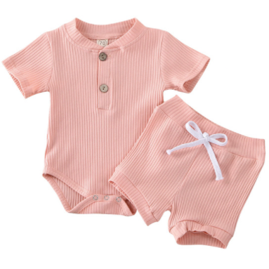 (PRE ORDER) Lounge Around  Baby Girl  Short Set - Little Adora and Company