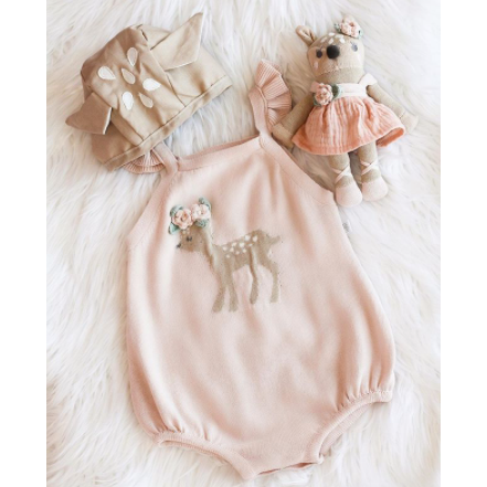 PRE ORDER Little Fawn Baby Girl Romper