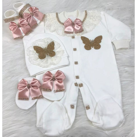 (Pre Order)Jewelled Butterfly Baby Girl Onesie Set - Little Adora and Company