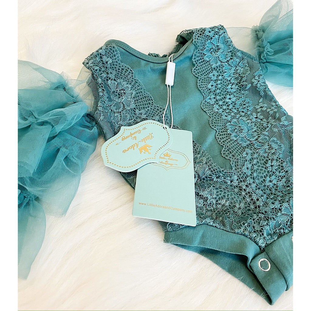 Athena NewBorn Baby Girl Romper In Green - Little Adora and Company