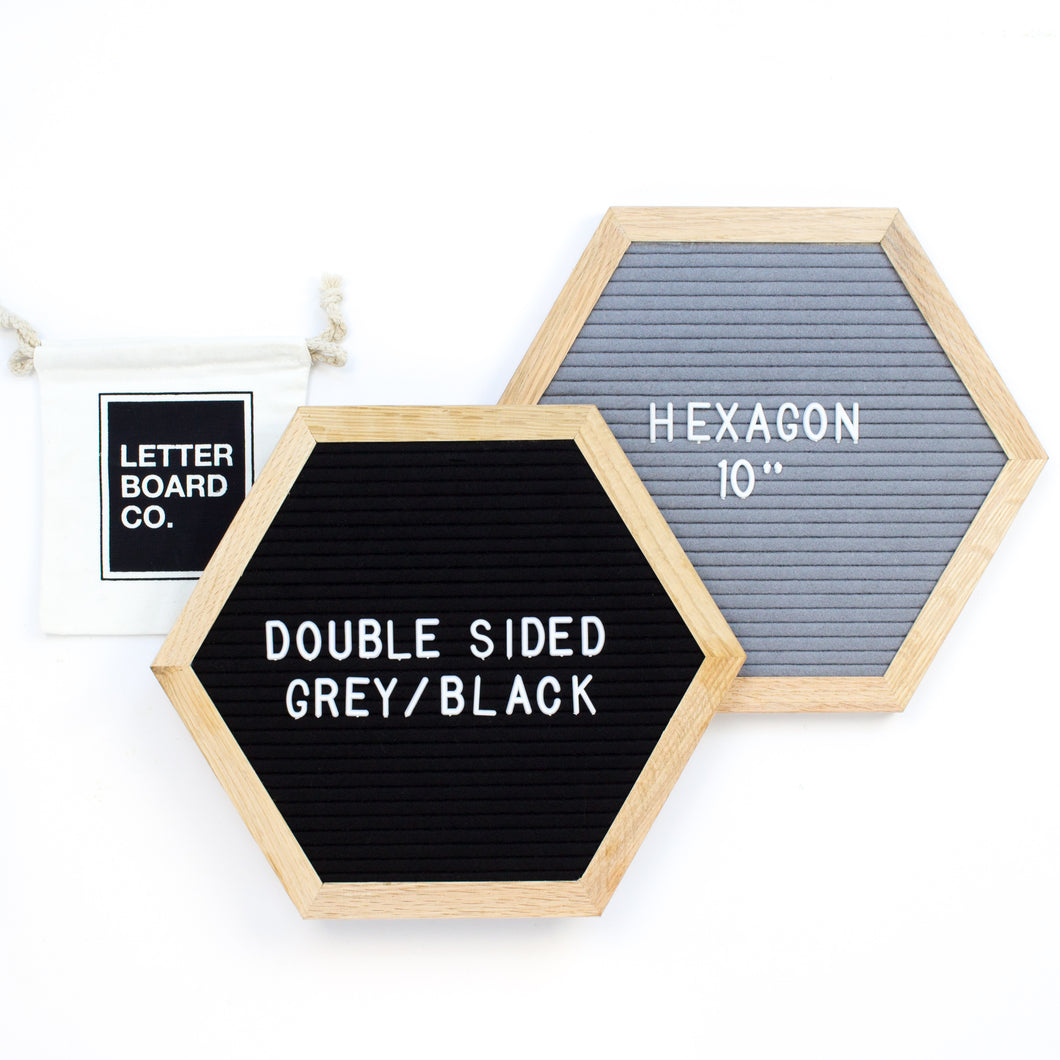Double Sided Introvert Hexagon - Black & Grey