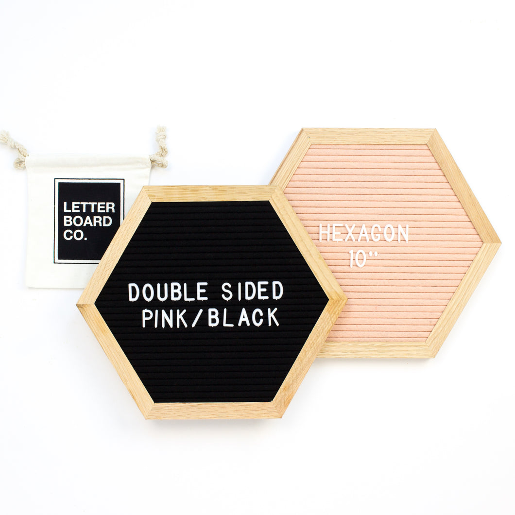 Double Sided Introvert Hexagon - Black & Antique Pink