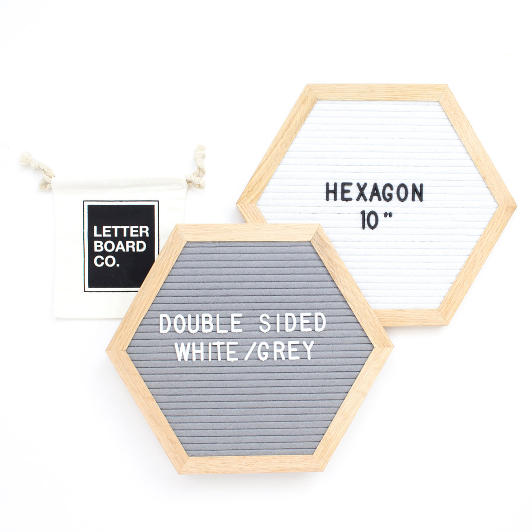 Double Sided Introvert Hexagon - White & Grey