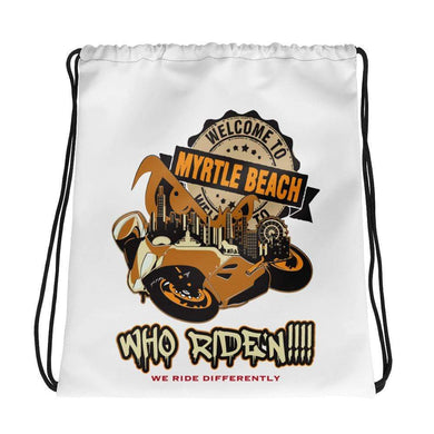 Who Ride'n !!! Drawstring bag - Hard Reset Printing