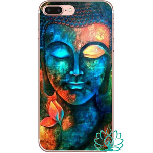 Coque iPhone Bouddha bleu coloré