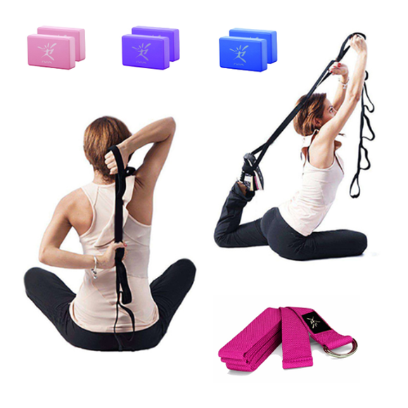 Brique Mousse Yoga + Sangle 3 pcs