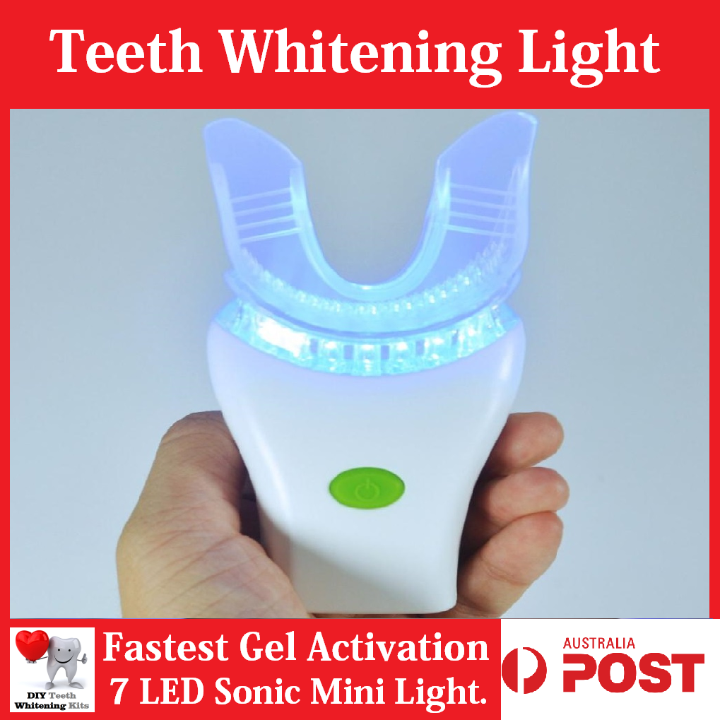 Home DIY Teeth Whitening 7 LED Sonic Massage Blue Light Gel Smile Kit | diyteethwhiteningkits.com.au