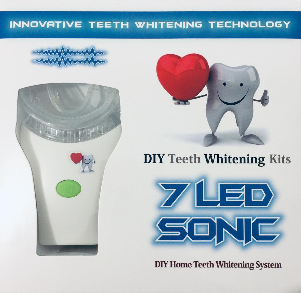 Qty 2 x 15, 20 or 25 Treatments Teeth Whitening Kit - 7 LED Sonic Massage Gel Activation Mini Light