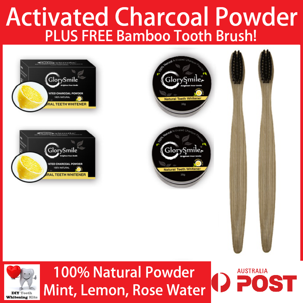 Teeth Whitening Charcoal Powder 30g Mint, Lemon & Rose + Bamboo Tooth Brush