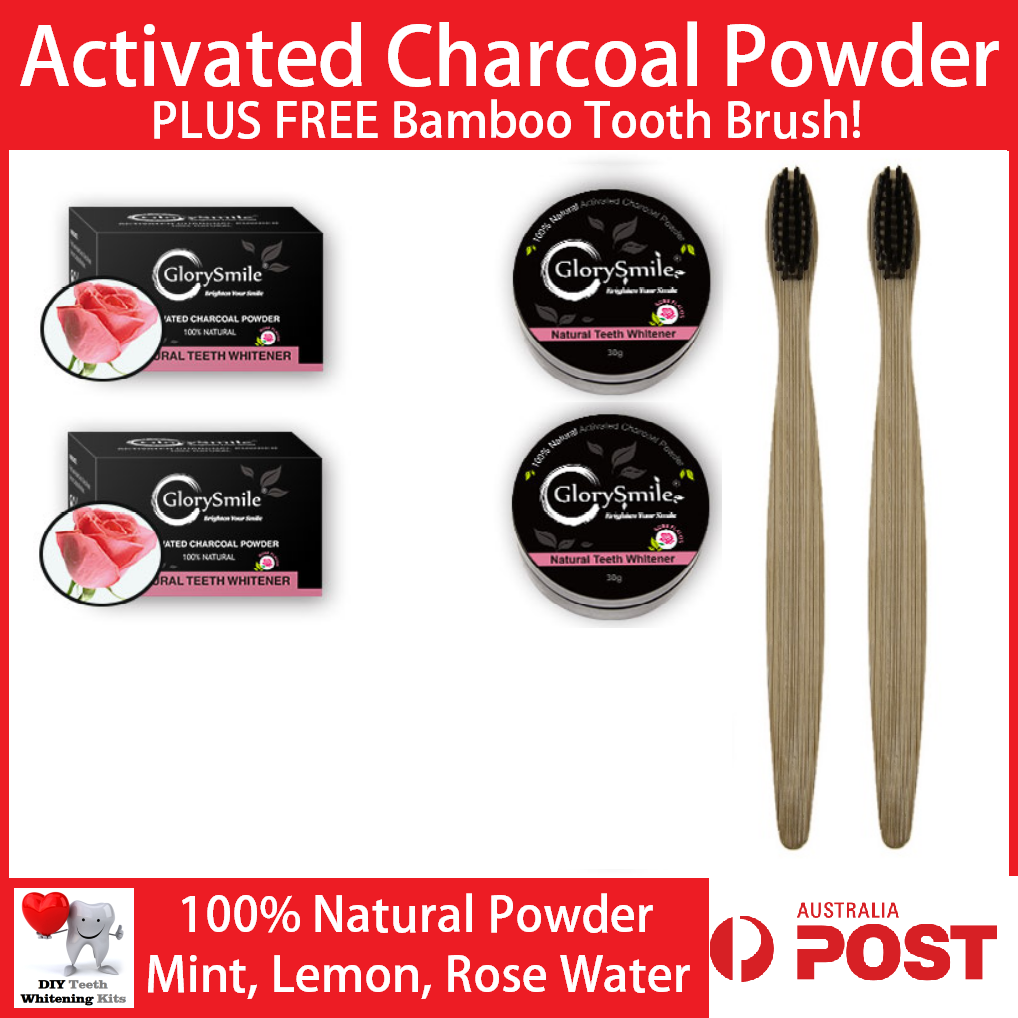 DIY Teeth Whitening Kits | Activated Charcoal Powder. Mint, Lemon or Rose
