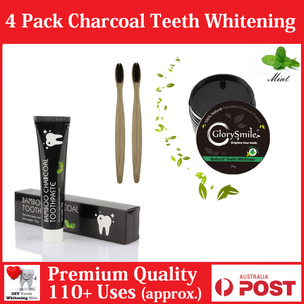 4 PACK Natural Activated Mint Charcoal Powder, Toothpaste + 2 Brushes