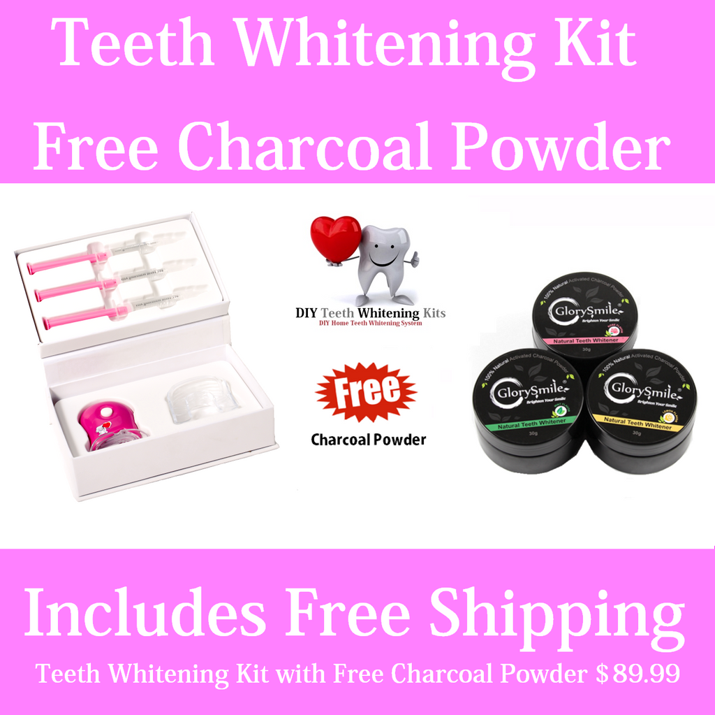 Teeth Whitening Kit plus Bonus Charcoal Powder - Mint Lemon or Rose Flavour