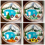 Interchangeable Camping Round with four seasonal pieces