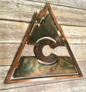 Metal Colorado C with Vintage Triangle Flag Mountains in Copper and blue patinas