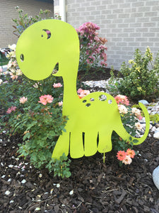 Little Green Dinosaur for added fun to your yard with metal outdoor artwork.  Created by Forged From The Ashes Metalworks.