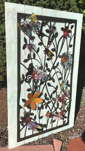 Butterfly, Dragonfly and flower 3D garden panel