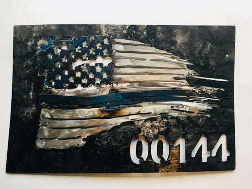 Thin Blue Line customizable Tattered Flag in Metal - Patriotic Home Decor by Forged From The Ashes Inspirational Gifts for Law Enforcement Officers
