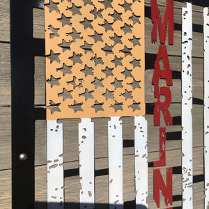 Metal Distressed red, gold and white Flag from Forged From The Ashes Inspirational Artwork for Marines and Military Families