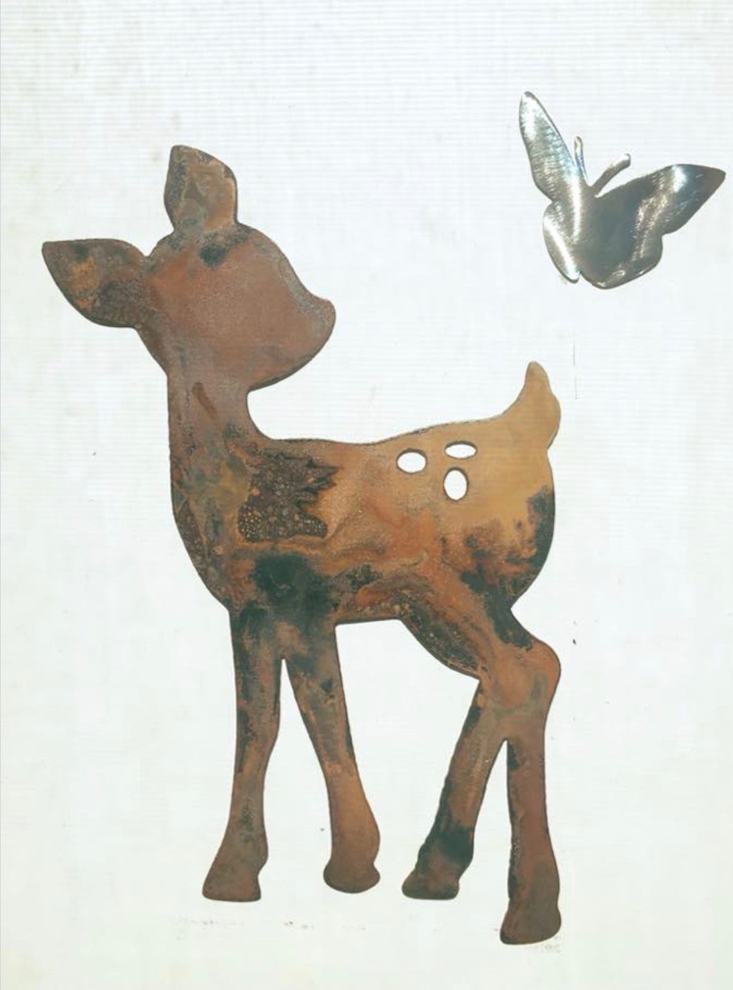 Adorable Fawn with Friendly Butterfly - Garden & Yard Decor by Forged From The Ashes Inspirational Gifts