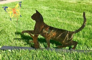 Mommy Cat and Kitten Chasing Butterflies - Garden & Yard Decor by Forged From The Ashes Inspirational Gifts