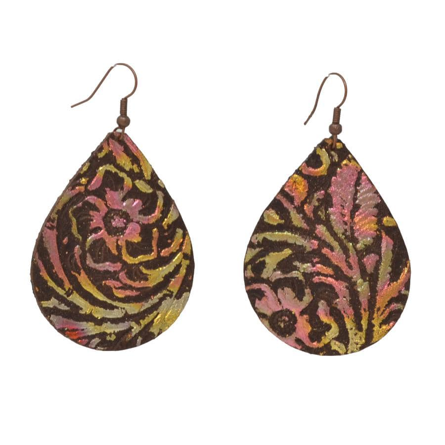 VARIEGATED WESTERN EMBOSSED LEATHER EARRINGS
