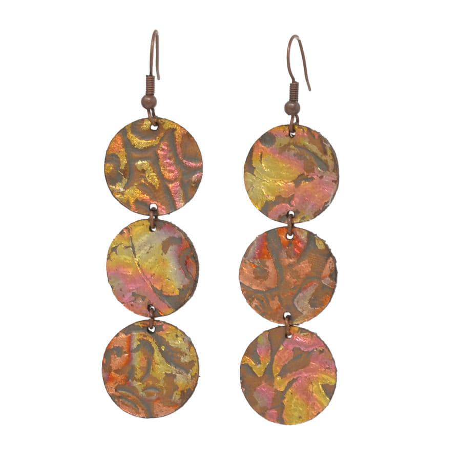 VARIEGATED EMBOSSED LEATHER EARRINGS