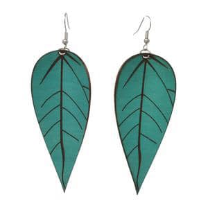 Aqua Leather Earrings