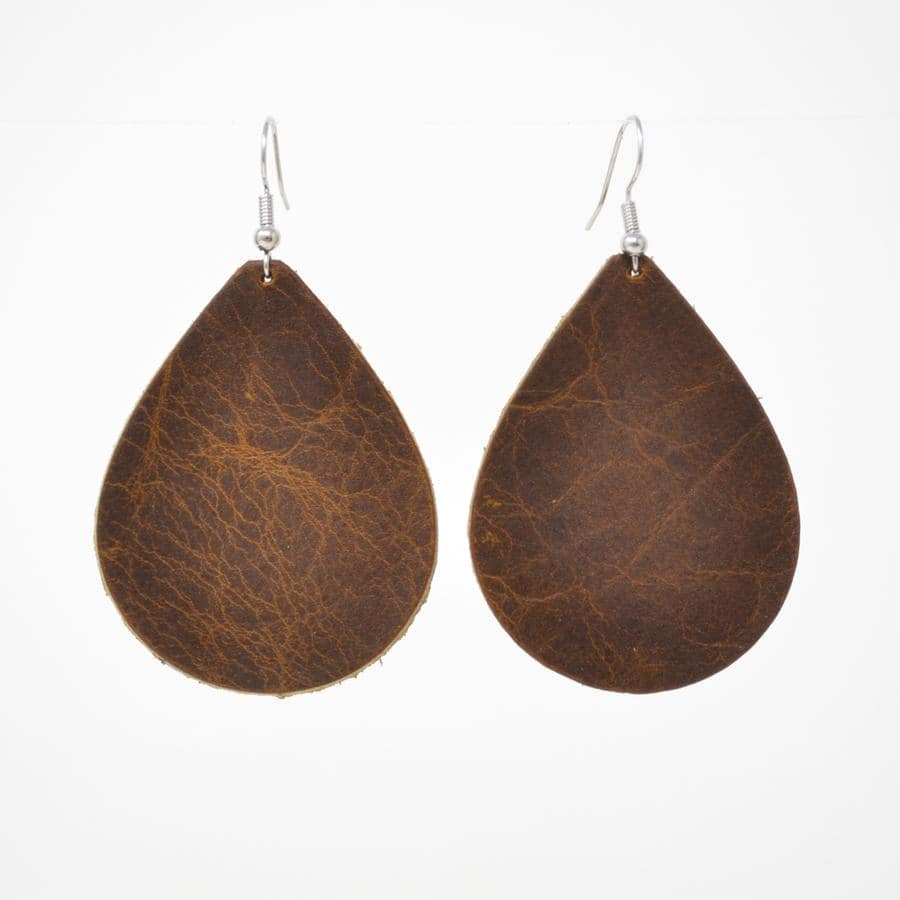 Copper Elk Leather Earrings