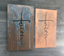 copper and bronze metal artwork with patina.  Inspirational Christian Metal art by Fprged From The Ashes Metalworks.  Faith and Family.  Great gifts for mom, dad, brother, sister, uncle, grad, son or daughter