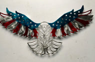 Patriot Eagle in Red, Silver and Blue - Garden & Yard Decor by Forged From The Ashes Inspirational Gifts