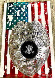 Vertical Tattered Flag with Personalized Badge