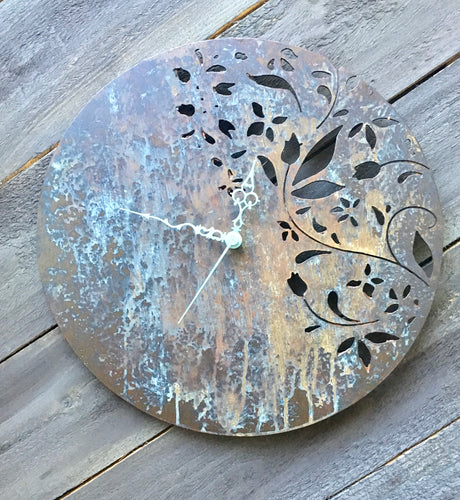 Unique bronze and blue patina clock with floral pattern created by Forged From The Ashes Inspirational Christian art and wall decor