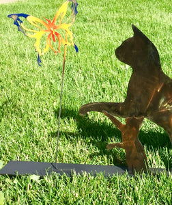 Mommy Cat and Kitten Chasing Butterflies - Garden Ornaments by Forged From The Ashes Inspirational Gifts