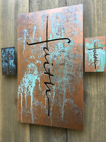 Our mini version of the original.  Mini Faith Cross Magnets.  Gifts for anyone.  Great Stocking Stuffers.  Christian Art inspired by God, created by Forged From The Ashes Metal works.