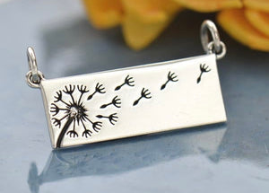 Silver Dandelion Bar Necklace