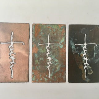 Patina or Copper Faith Cross Ornament or Magnet