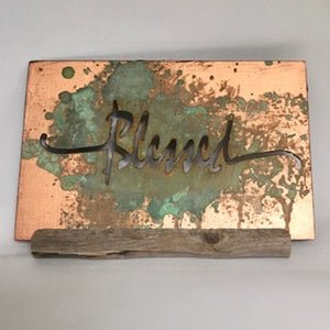 Small Copper Patina Blessed Desk Piece