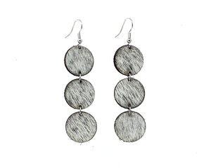 Gray Leather Hair on Earrings