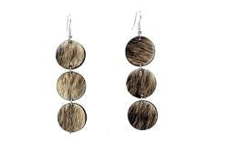 Brown Leather Hair On Earrings