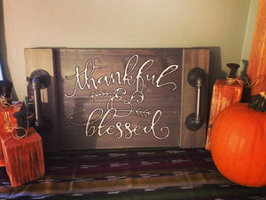 Thankful and Blessed Pewter Stained Serving Tray