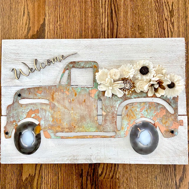 Welcome Truck with Wood flowers