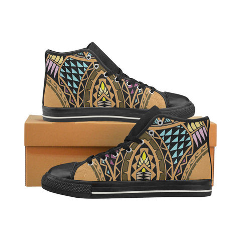 Polynesian Style Tribal 3- Aquila High Top Canvas Men's Shoes (Model 017) (Made In USA)
