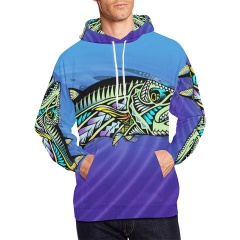 Polynesian Cuda- Men's All Over Print Hoodie Large Size (USA Size) (Model H13)